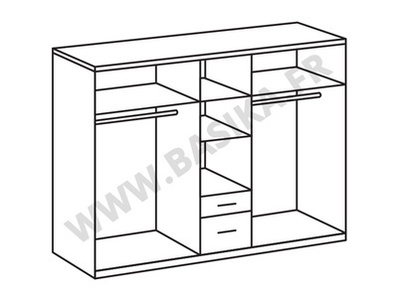 Armoire 5 portes 2 tiroirs Nizza chene blanc/rechampis gris brillant