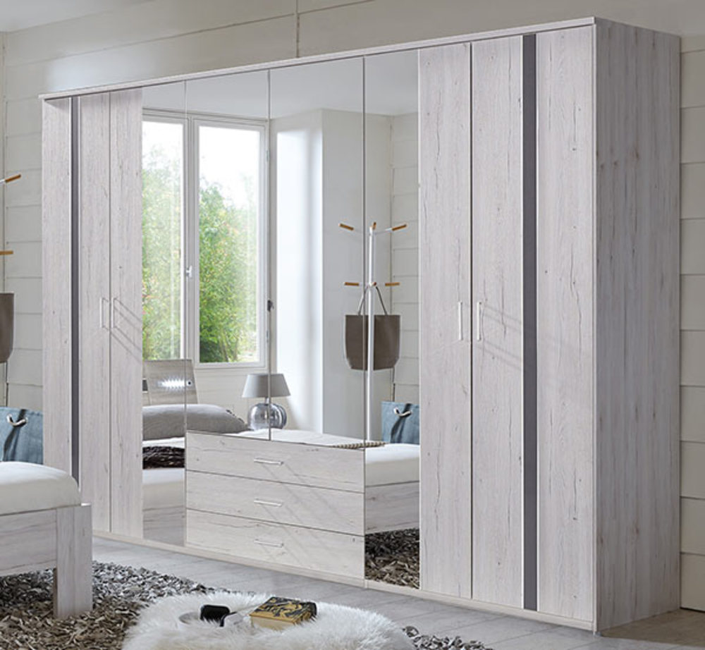 armoire 6 portes 3 tiroirs nizza chene blanc rechampis. Black Bedroom Furniture Sets. Home Design Ideas