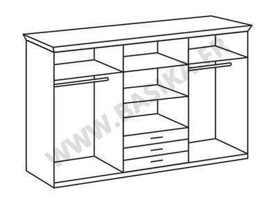 Armoire 6 portes 3 tiroirs Nizza chene blanc/rechampis gris brillant