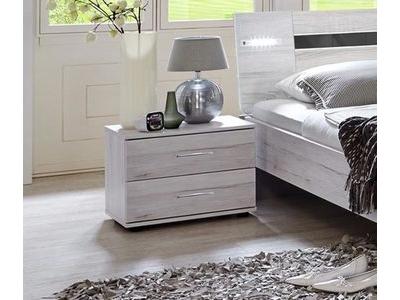 Chevet 2 tiroirs Nizza chene blanc/rechampis gris brillant