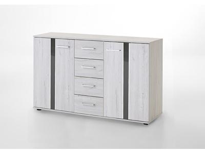 Commode 2 portes 4 tiroirs Nizza chene blanc/rechampis gris brillant