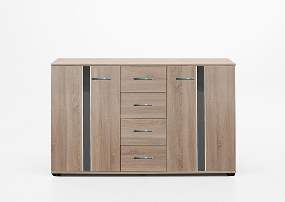 commode 2 portes 4 tiroirs nizza chene rechampis gris. Black Bedroom Furniture Sets. Home Design Ideas
