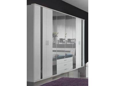 Armoire 6 portes 3 tiroirs Nizza blanc/rechampis gris brillant