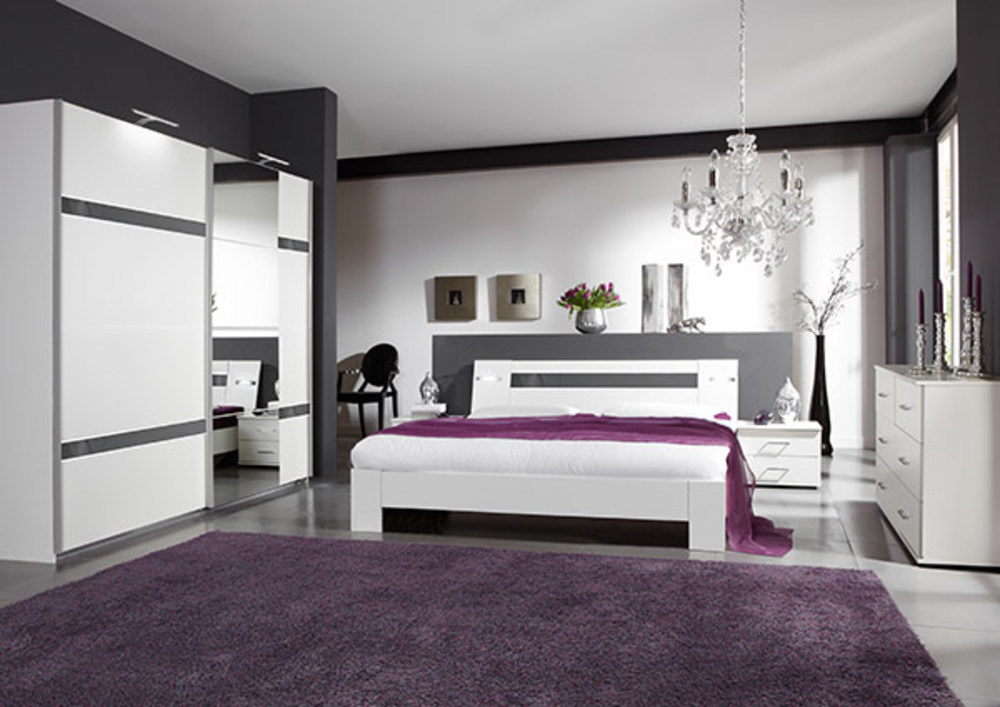 chevet 2 tiroirs nizza blanc rechampis gris brillant blanc gris brillant. Black Bedroom Furniture Sets. Home Design Ideas