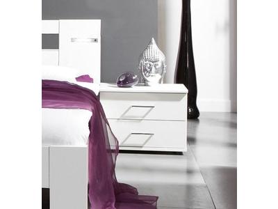 Chevet 2 tiroirs Nizza blanc/rechampis gris brillant