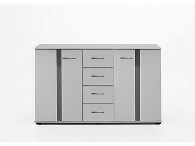 Commode 2 portes 4 tiroirs Nizza blanc/rechampis gris brillant
