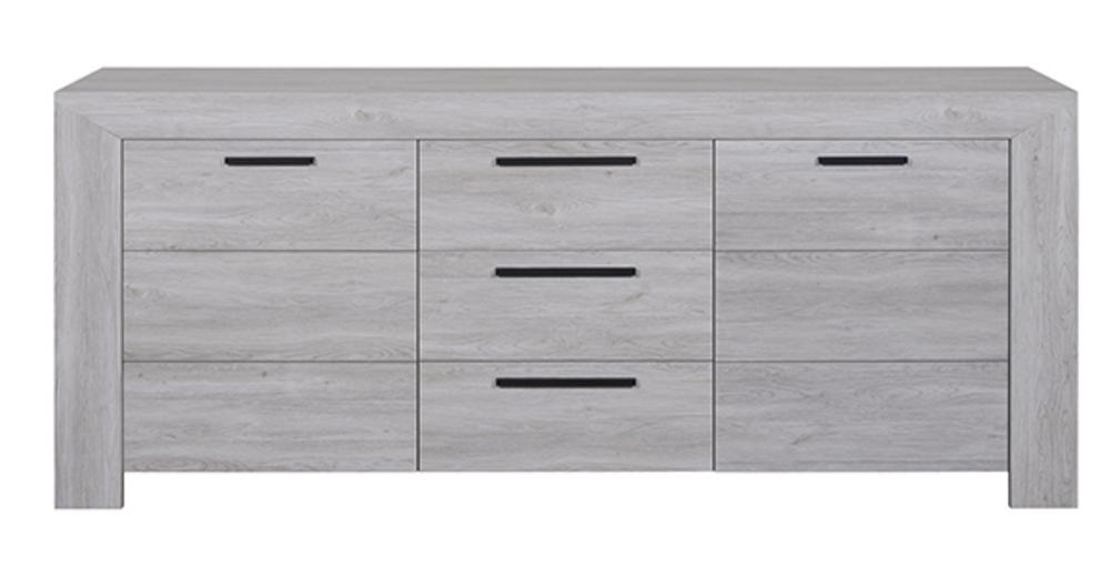 bahut 2 portes 3 tiroirs neva chene blanchi. Black Bedroom Furniture Sets. Home Design Ideas