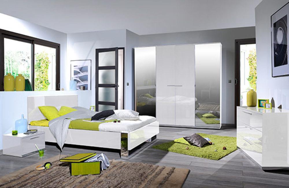 Environnement droite du lit avec led sunrise blanc brillant - Lit avec environnement ...