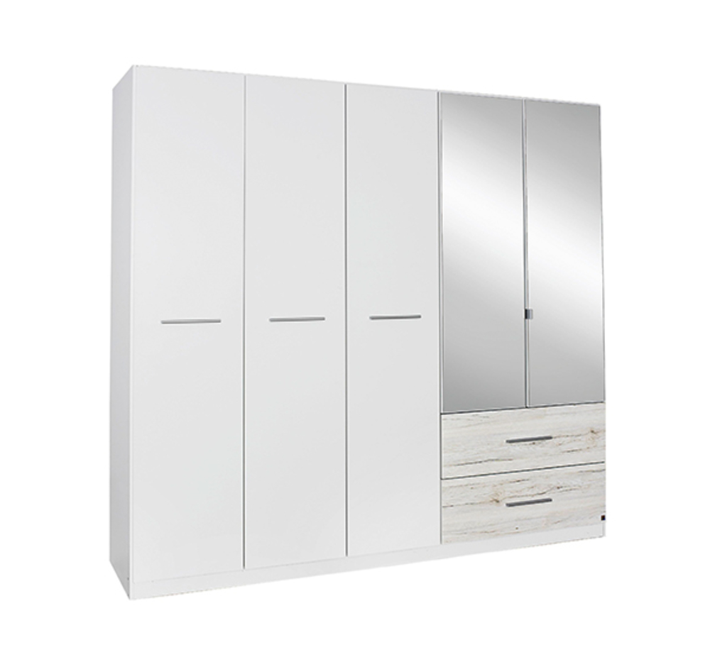 armoire 5 portes 2 tiroirs saragossa blanc chene blanchi. Black Bedroom Furniture Sets. Home Design Ideas
