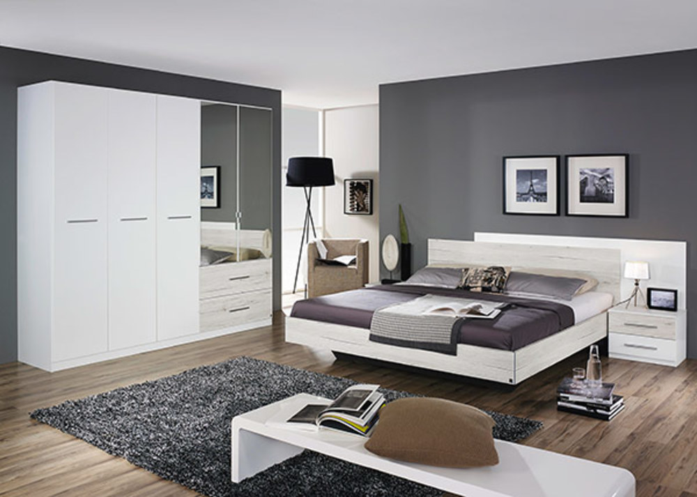 lit 2 chevets saragossa blanc chene blanchi. Black Bedroom Furniture Sets. Home Design Ideas