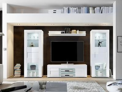 Bahut 2 portes 3 tiroirs Cortina blanc brillant