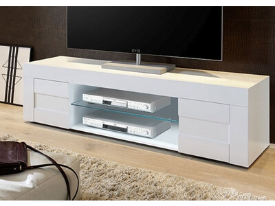 meuble tv primo blanc brillant. Black Bedroom Furniture Sets. Home Design Ideas