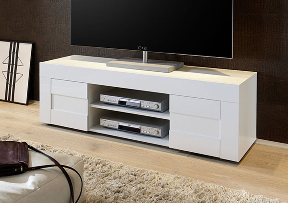 Meuble tv easy cortina blanc brillant l 138 x h 44 x p 42 - Meuble tv simple ...