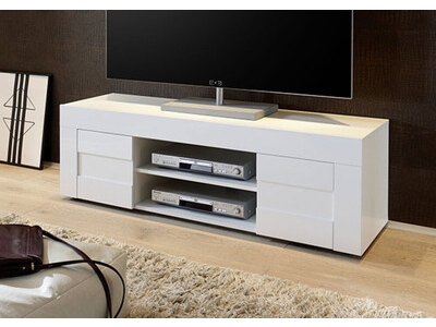 meuble tv easy blanc brillantl 138 x h 44 x p 42. Black Bedroom Furniture Sets. Home Design Ideas
