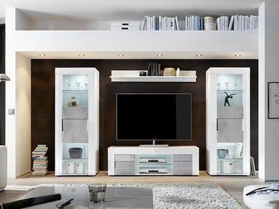 Bahut 2 portes 3 tiroirs Cortina blanc brillant/béton