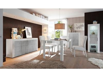 Bahut 3 portes Cortina blanc brillant/béton
