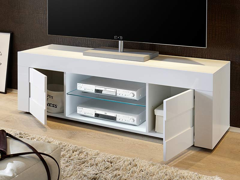 meuble tv easy cortina blanc brillant b ton l 181 x h