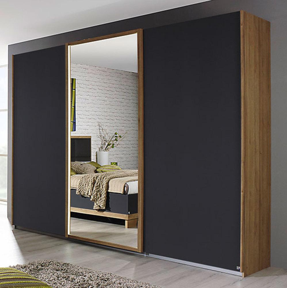 armoire 3 portes coulissantes altona gris m tal chene clair. Black Bedroom Furniture Sets. Home Design Ideas