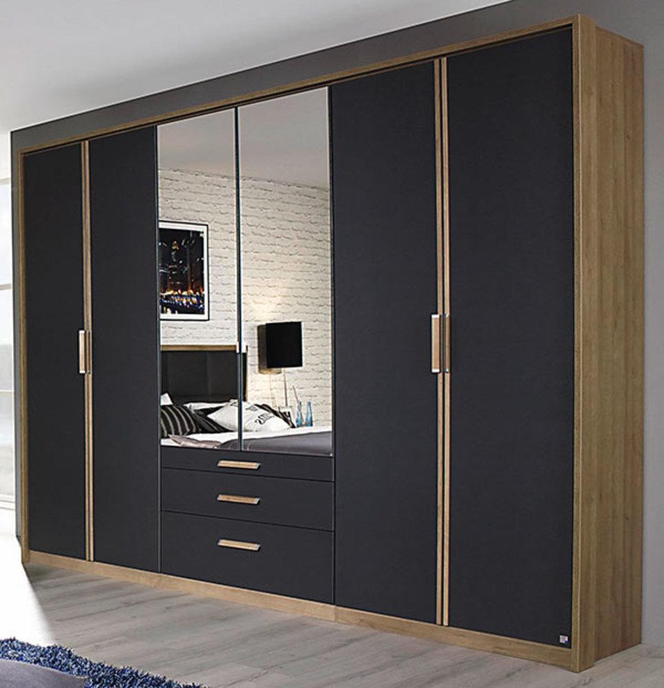 armoire 6 portes 3 tiroirs altona gris m tal chene clair. Black Bedroom Furniture Sets. Home Design Ideas