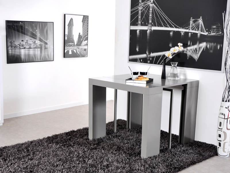 table console extensible algo gris brillant. Black Bedroom Furniture Sets. Home Design Ideas