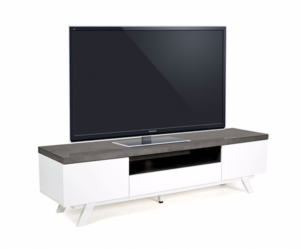 Meuble tv storm blanc gris for Basika meuble tv