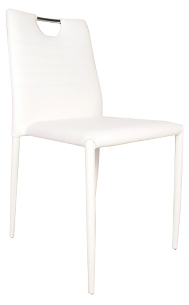 Chaise sateen blanche for Chaise salle a manger blanche