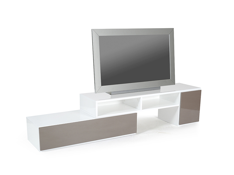 Meuble tv movien blanc gris anthracite for Basika meuble tv