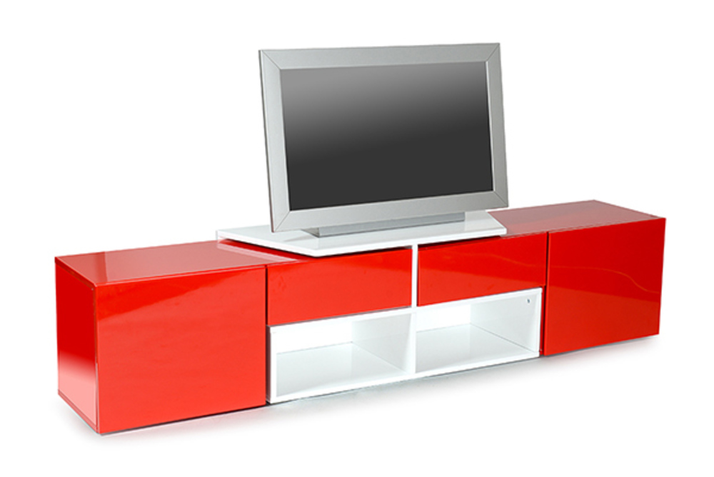 Meuble tv rouge et blanc conceptions de maison for Meuble tv rouge