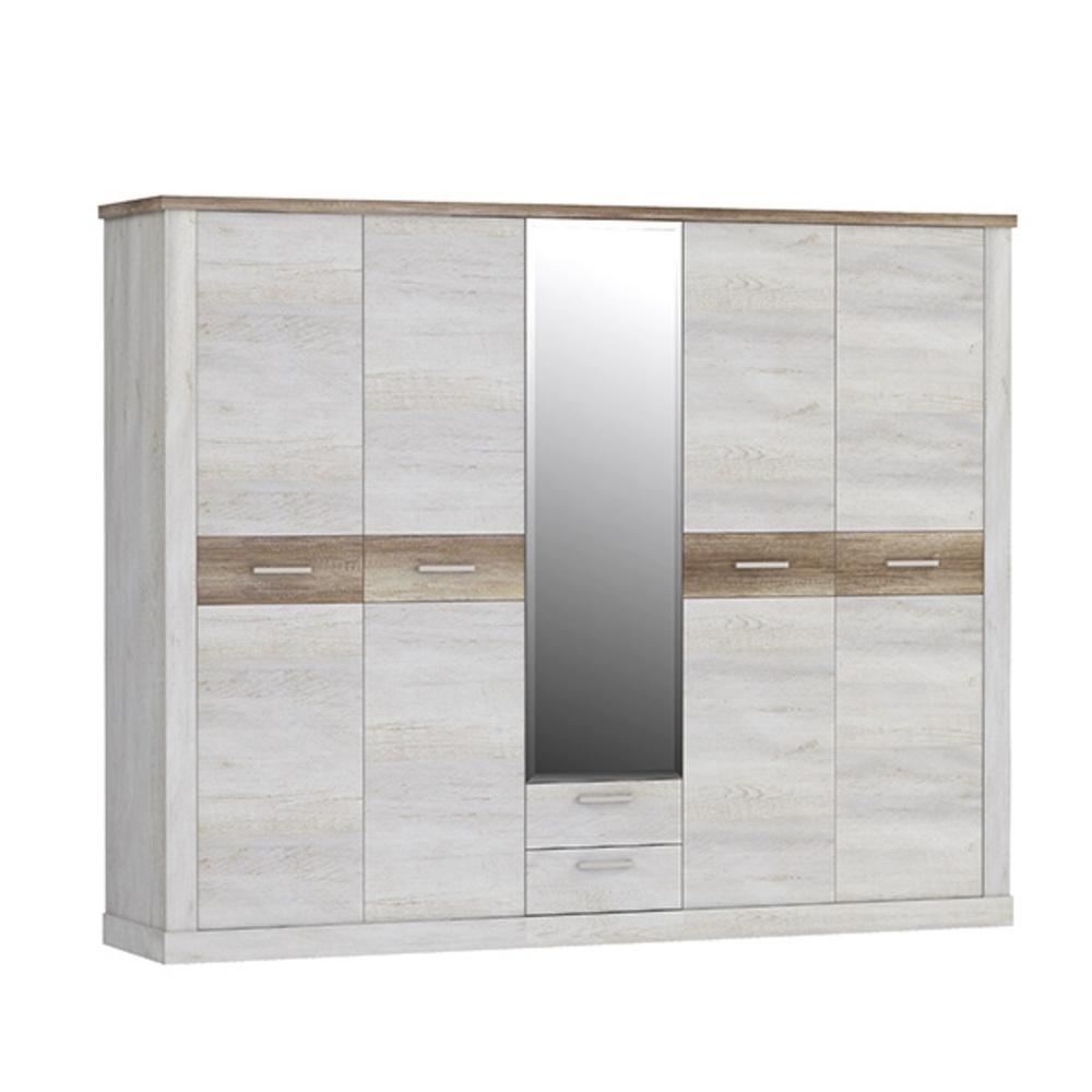 armoire 5 portes 2 tiroirs duro chambre coucher pin