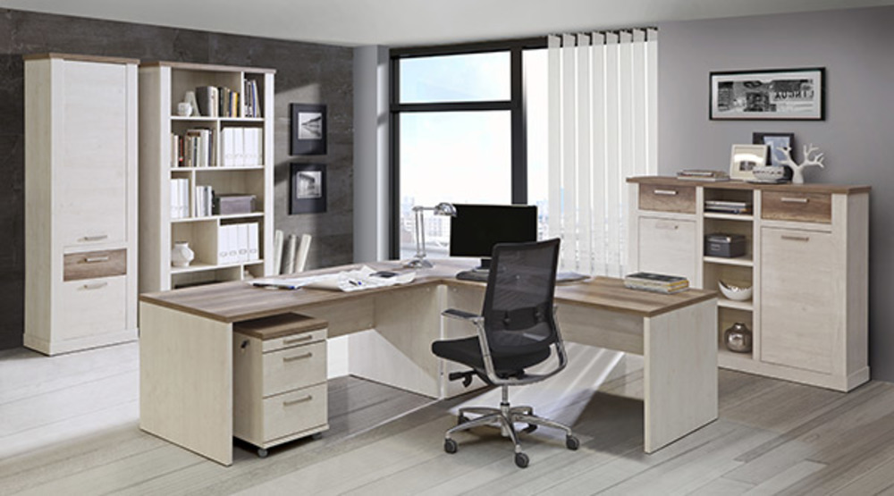 Angle duro meuble de bureau pin blanc chene antique for Meuble bureau angle