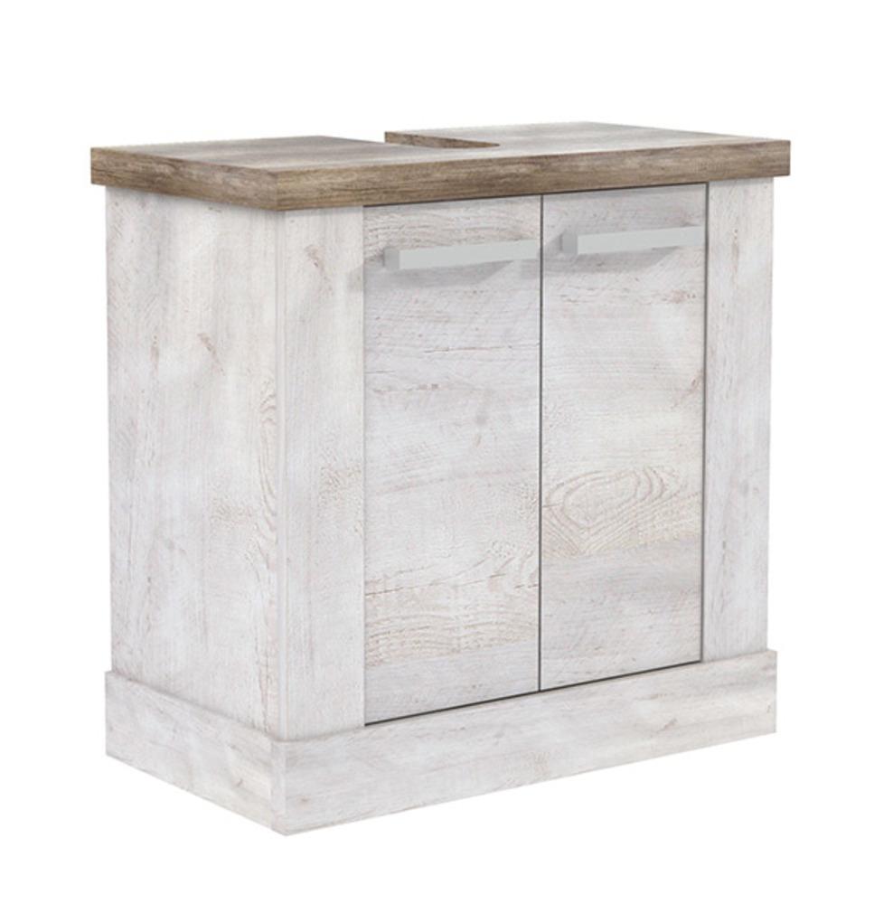 Element bas sous evier duro salle de bain pin blanc chene for Element bas salle de bain