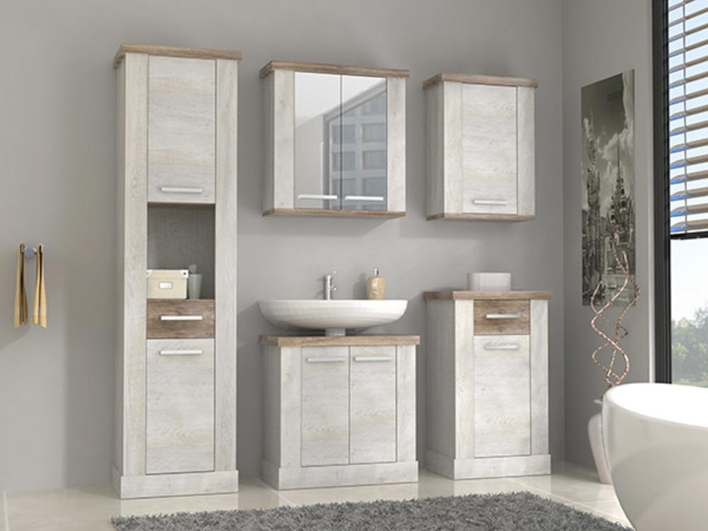 Colonne duro salle de bain pin blanc chene antique - Elements salle de bain ...