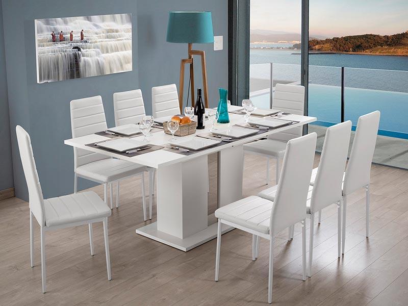 table de repas kolony blanc. Black Bedroom Furniture Sets. Home Design Ideas