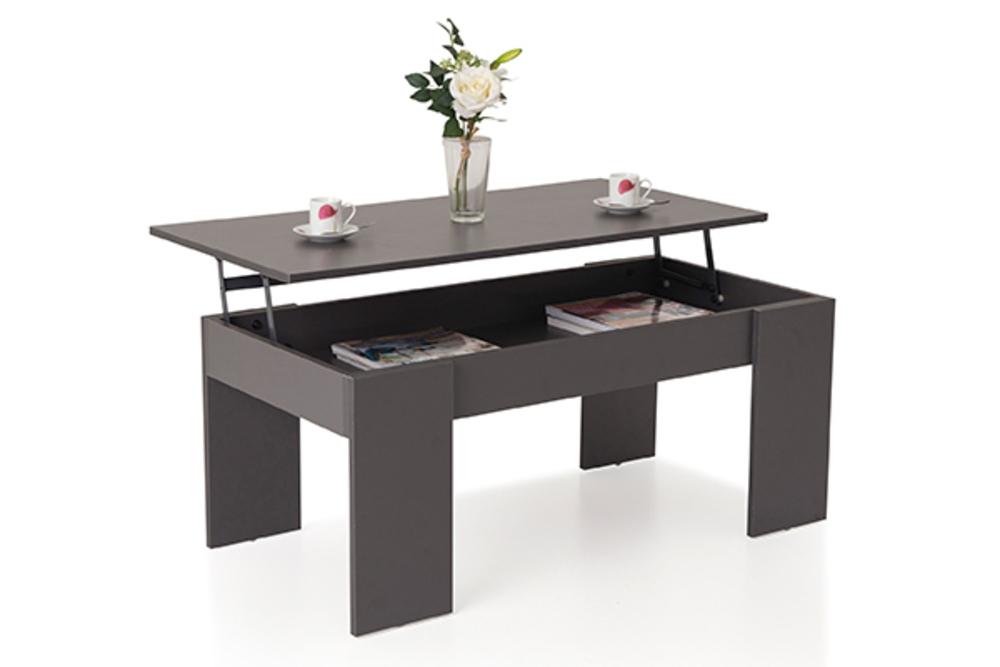 table basse relevable down gris l 100 x h 42 5 x p 50. Black Bedroom Furniture Sets. Home Design Ideas