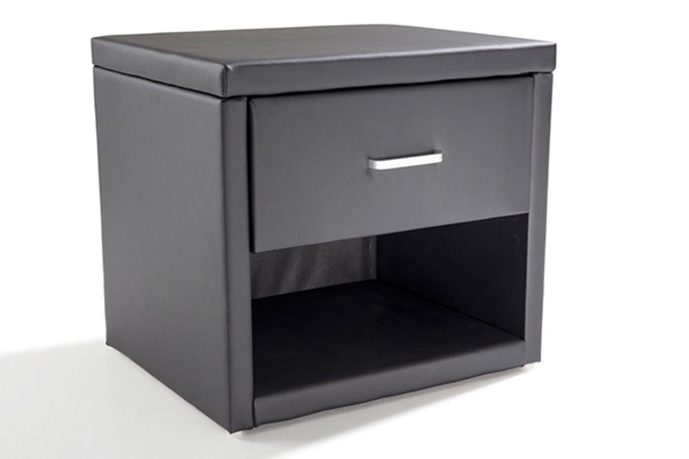 Chevet uzzy noir - Table de chevet cuir noir ...
