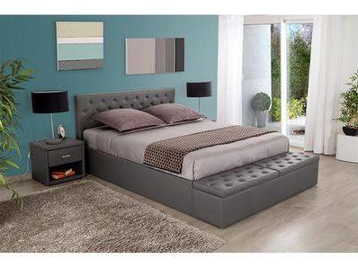 lit avec banc coffre douglas gris l 168 x h 97 x p 246. Black Bedroom Furniture Sets. Home Design Ideas