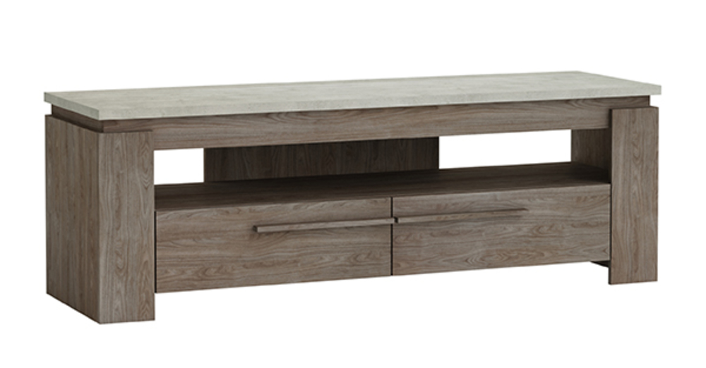 meuble tv bastille beton clair noyer. Black Bedroom Furniture Sets. Home Design Ideas