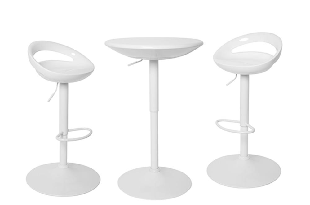 Ensemble table haute 2 tabourets flocon blanc - Ensemble table bar et tabouret ...