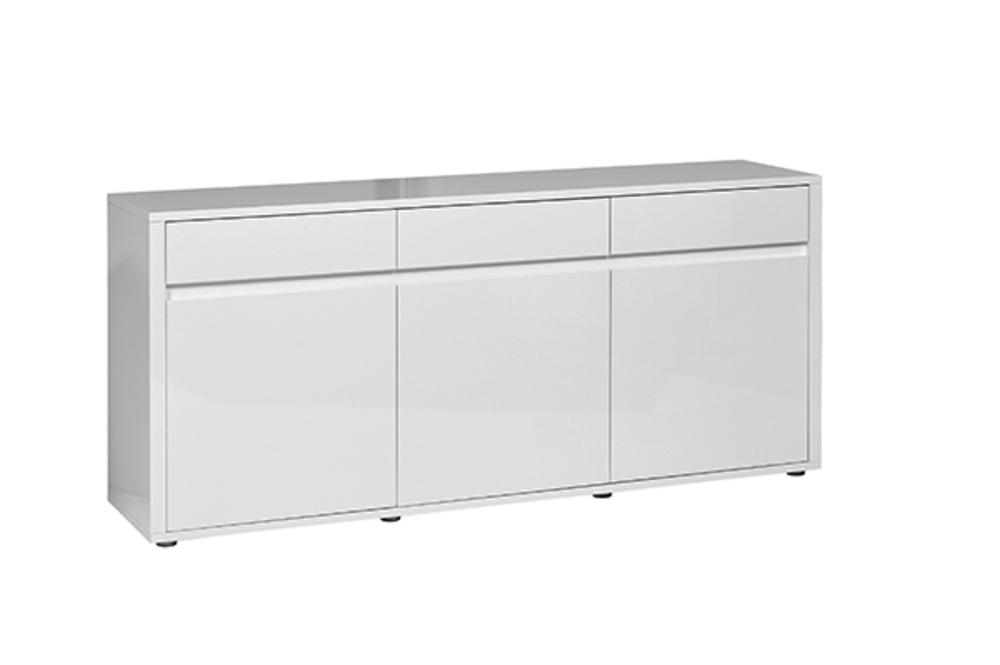 Bahut 3 portes 3 tiroirs Urbana blanc brillant -> Meuble Urbana
