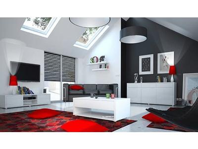Bahut 3 portes 3 tiroirs Urbana blanc brillant