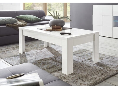 Table basse Damier blanc brillant