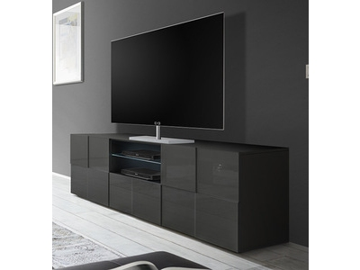 Meuble tv dama gris brillant for Meuble sejour gris