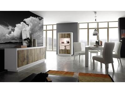 Bahut 4 portes Prato  blanc mat/bois