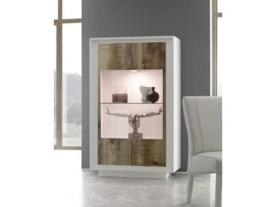 vitrine sky prato blanc mat bois. Black Bedroom Furniture Sets. Home Design Ideas