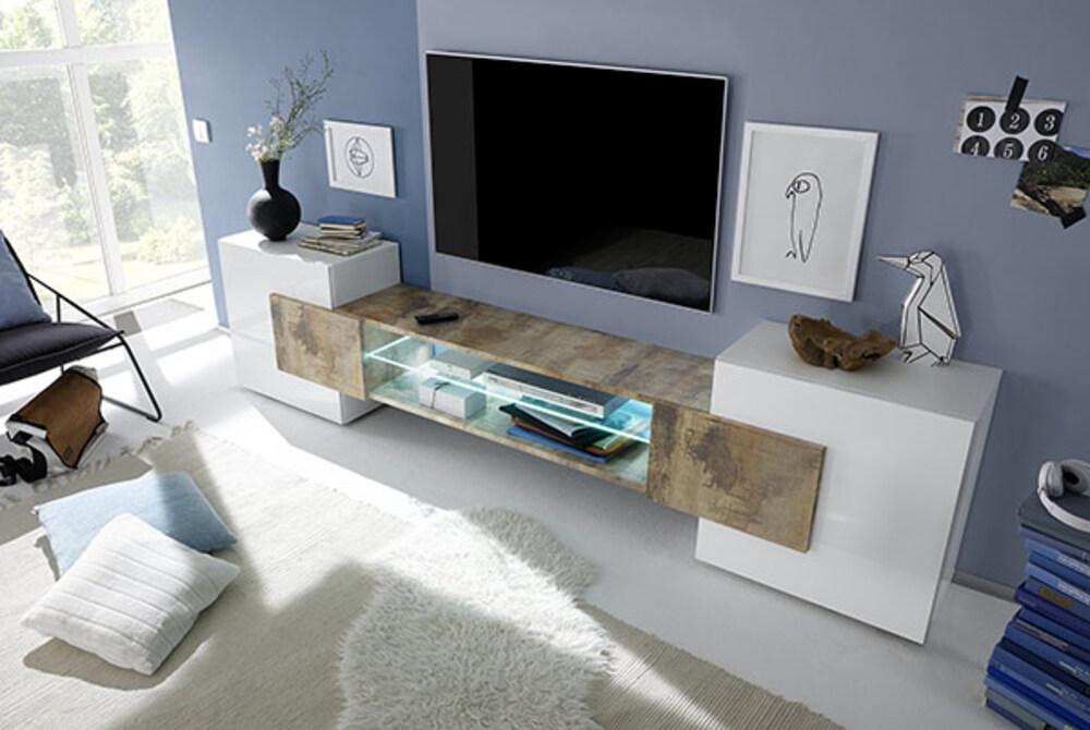 Meuble tv Trieste blanc brillant/bois