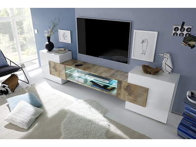 Meuble tv Incastro blanc brillant/bois