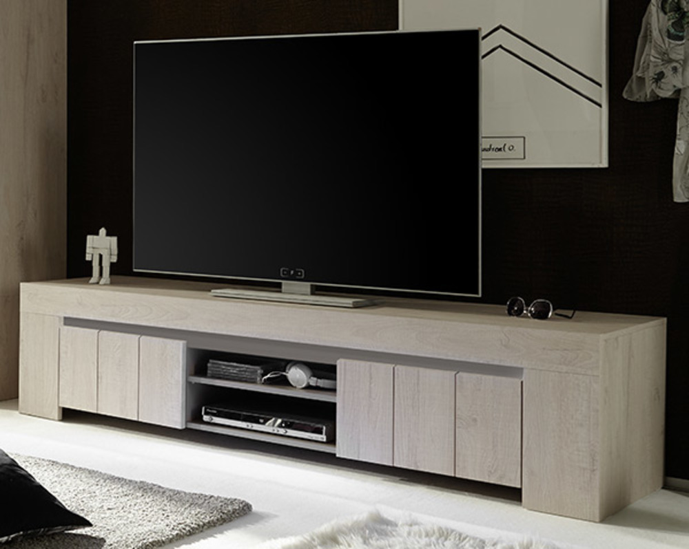 meuble tv gm palmira chene blanchi. Black Bedroom Furniture Sets. Home Design Ideas