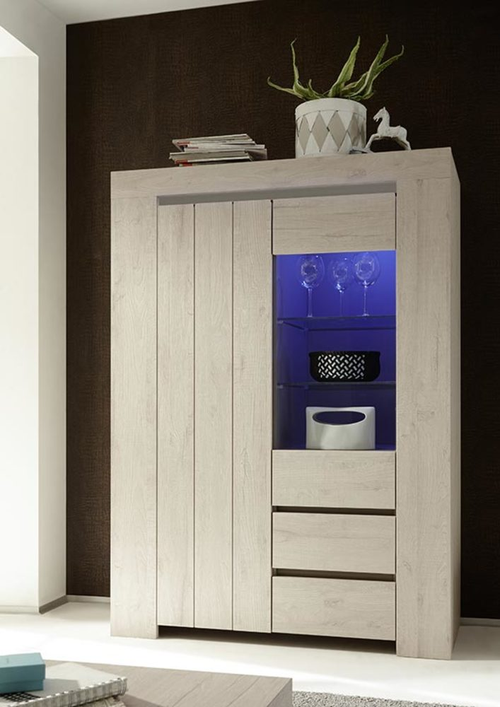 vitrine palmira chene blanchi. Black Bedroom Furniture Sets. Home Design Ideas