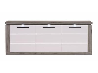 Bahut 3 portes Oslo chene gris/blanc brillant