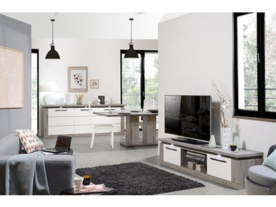 Meuble tv Oslo chene gris/blanc brillant